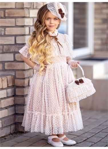 Riccotarz Kız Çocuk Noble Beaute Şapkalı Krem Abiye Renkli